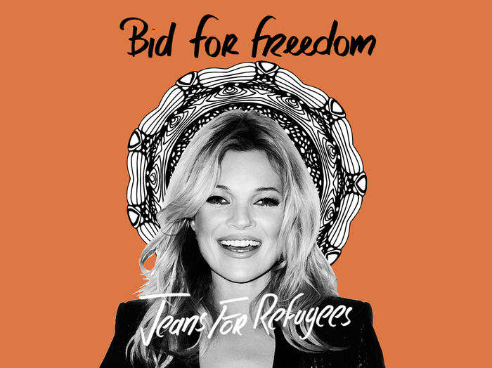 Kate Moss' 'Jeans for Refugees' hand painted by Johny Dar