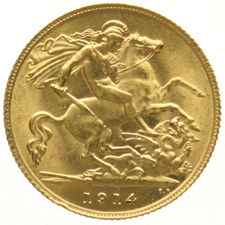 England - ½ Sovereign 1914 George V - gold