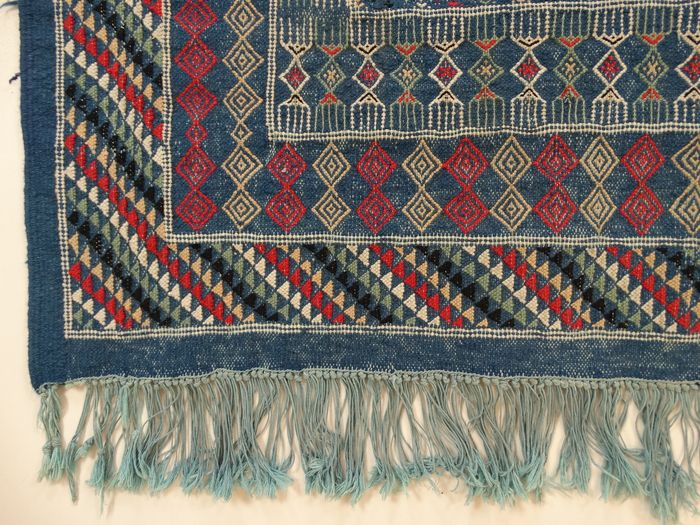 atlas kilim 253 x 152 cm tapis oriental denim bleu en bel tat catawiki. Black Bedroom Furniture Sets. Home Design Ideas