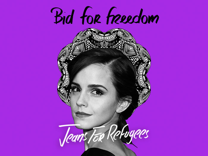 Emma Watson's 'Jeans for Refugees' hand painted by Johny Dar