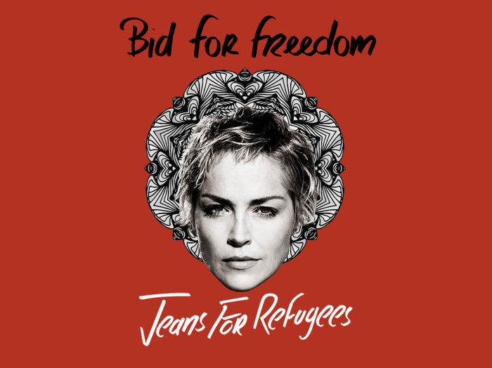 Sharon Stone's 'Jeans for Refugees' hand painted by Johny Dar