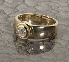 Solitaire engagement Ring with Diamond in brillant cut of c. 0.47 Ct, 14 K Yellow Gold RS 58 / 18,5mm ∅ /US 8,5