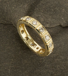 Full Memory Ring with 15 Diamonds of c. 0.75 ct 14K Gold RS 57/ 18,2mm ∅ / US 8