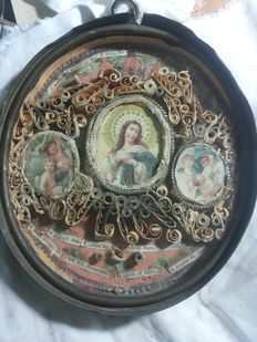 Rare 18th-century travel reliquary, with 18 Saints and copper protective case