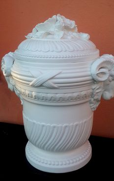 A white Bisque porcelain Decorative vase and cover, France, from the 20th century