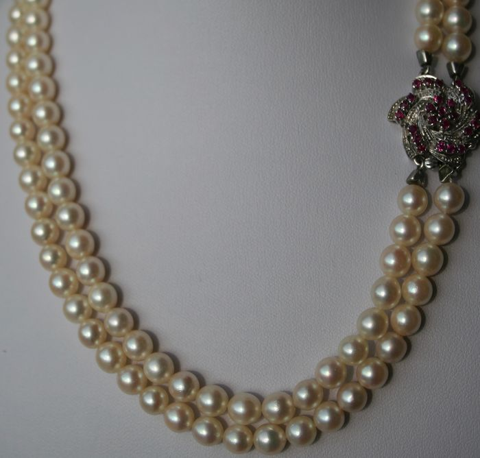 044bd37e5c2ae5 Two row pearl necklace with genuine Japanese Akoya sea / salt water pearls  with handmade large