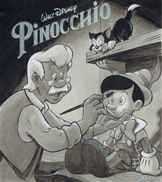 Garrido, Sergio - Original Drawing - Pinocchio & Geppetto