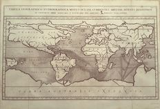 World, physical geography; Athanasius Kircher - Tabula geographica-hydrographica motus oceani currentes abyssos montes (..) - 1678