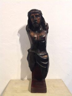 Antique oak wooden corpus of Christ-France-Probably 18th/19th century