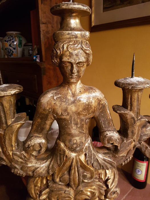 Large carved and mecca gilt wood candlestick- Italy - late 18th century