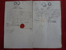 Austria 1762/1893 - Collection of 52 receipts with seals, fiscal marks and fiscal stamps