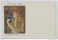 Themed postcard illustrator Alphonse Mucha Original JOB collection calendar 1897
