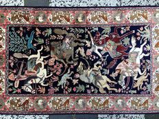 Hand-knotted, silk carpet, India,  20th century.