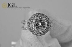 IGL -1.82 ct round diamond ring made of 18 kt white gold - size 6