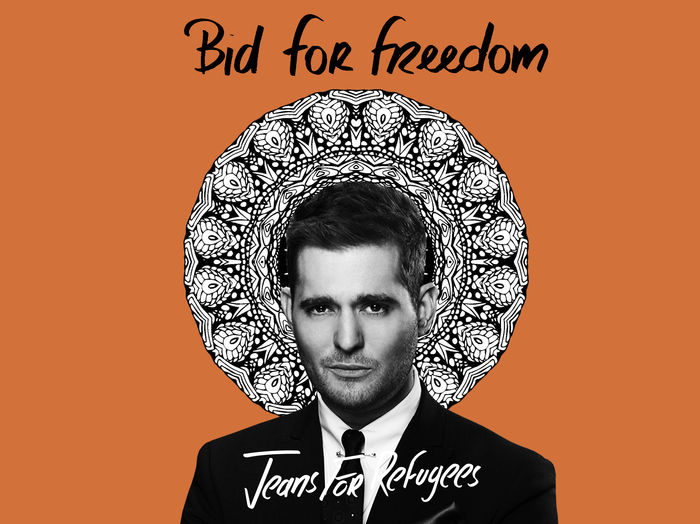 Michael Bublé's 'Jeans for Refugees' hand painted by Johny Dar
