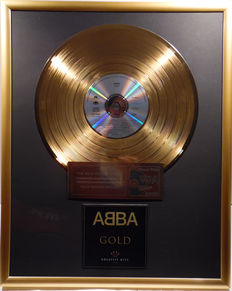 "ABBA  - GOLD - Greatest Hits - 12"" german gold plated record with CD and cover by WWA gold Awards"