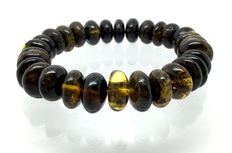 Bracelet of 100% genuine Baltic amber (not treated) doughnut beads 12 mm in diameter – 17.7 grams