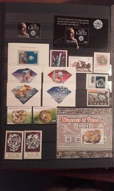 Theme - collection of stamps on the theme of minerals.