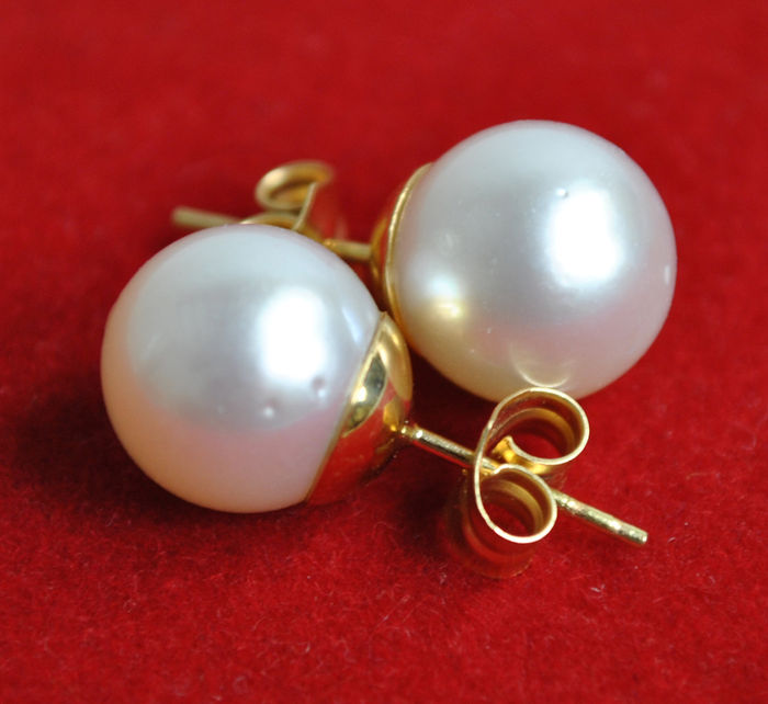 18 kt yellow gold - Earrings - South Sea (Australian) pearls of 10.20 mm