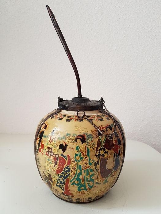 antique Chinese opium jar with original pipe - hand painted ceramic with a bronze fittings - & antique Chinese opium jar with original pipe - hand painted ceramic ...