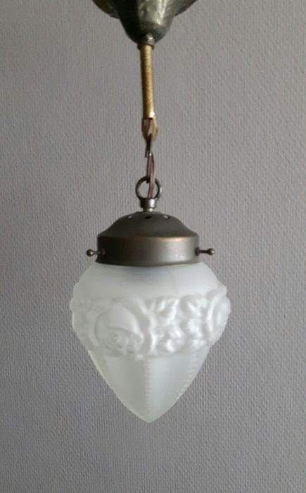 Copper ceiling light with pressed glass lamp shade with satin finish - Netherlands - ca. 1910
