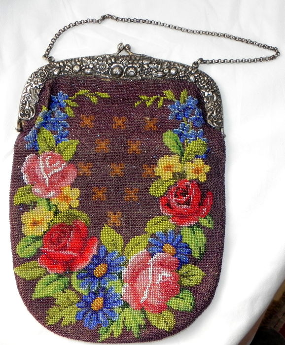 An unusually large evening bag with beaded embroidery and a silver strap, Germany, ca 1900