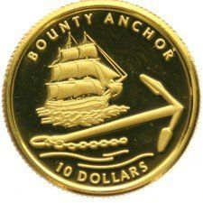 Pitcairn Islands – 10 Dollars 2007 'Bounty Anchor' – 1/25 oz gold