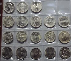 Republic of Italy - Commemorative 500 and 1000 Lira coins from 1970 to 2001 from the mint series - silver