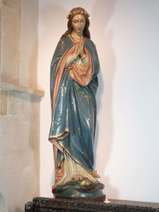 Stunning large Church statue, statue of the Virgin Mary in terracotta - MUNICH - 19th century