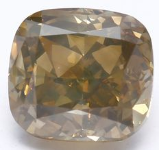 2.21 ct IGI Certified Natural Fancy Yellowish Brown Cushion Modified Brilliant Diamond
