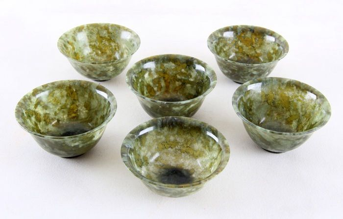 Green jade bowls - China - end of the 20th century