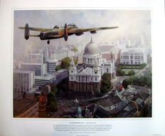 "Fine Art Print  - ""In Remembrance - Sixty Years On"" - Lancaster above St.Paul's Cathedral : Artist Michael Turner"