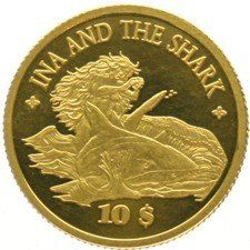 "Cook Islands – 10 Dollars 2008 ""Ina & The Shark"" – gold"