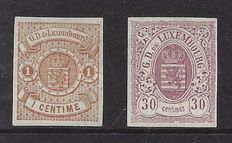 Luxembourg 1859 - Coat of arms - Michel 3 and 9