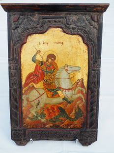 Greek-Byzantine icon - motif: Saint George and the Dragon
