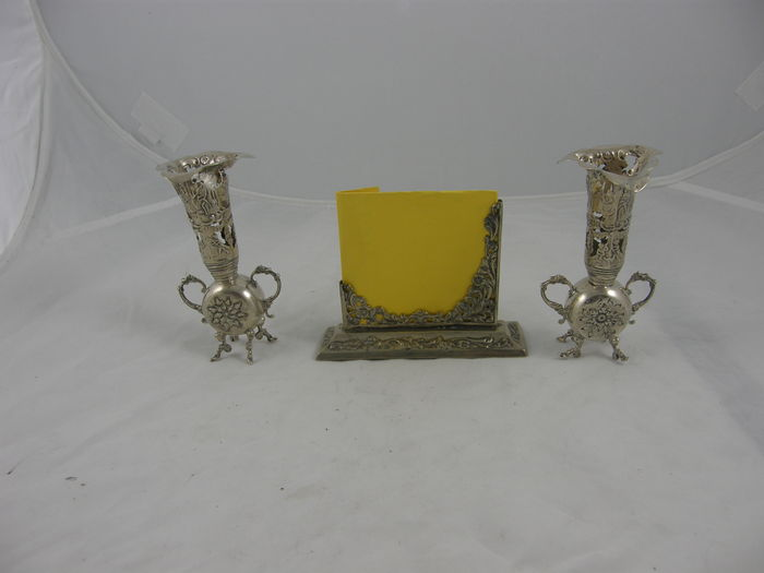 Silver Table Set Consisting Of Two Vases And A Menu Holder Art