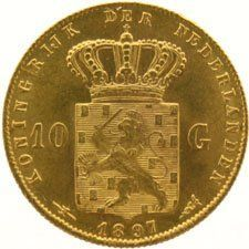 The Netherlands – 10 guilder coin, 1897, Wilhelmina (version with pearls fixed to the edge) – gold
