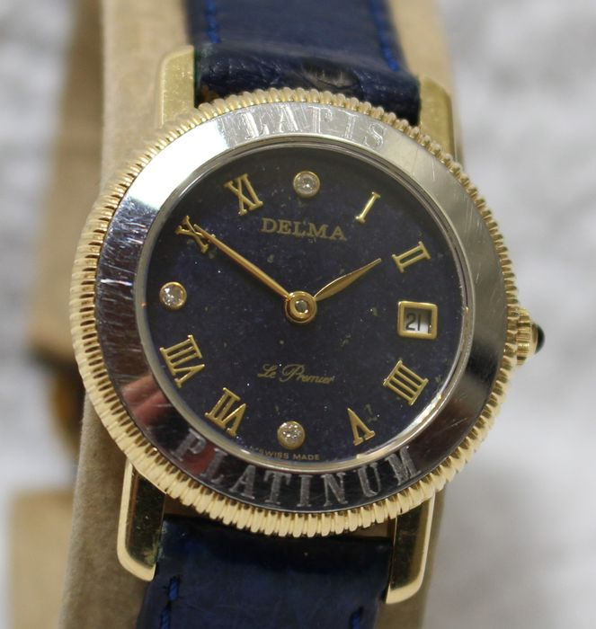 Delma Swiss Le Premier 18k Gold And Platinum Ladies Watch Lapis Lazuli Dial Very Rare Very Nice Fancy Watch 1990 S Catawiki