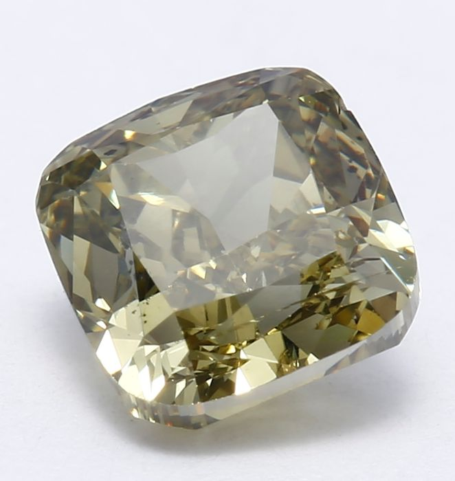 1.02 ct IGI Certified Natural Greyish Yellow Cushion Modified Brilliant Diamond