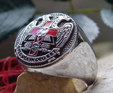 Sterling Silver 925 Double Eagle Latin Ring - size 13,5