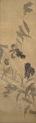 Special hand-painted scroll painting of fabric, depicting two cranes, signed and stamped Ganku (1756-1839) – Japan – 19th century