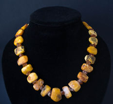 1920 Baltic Amber necklace old honey butterscotch egg yolk color, vintage, weight: 47 gram