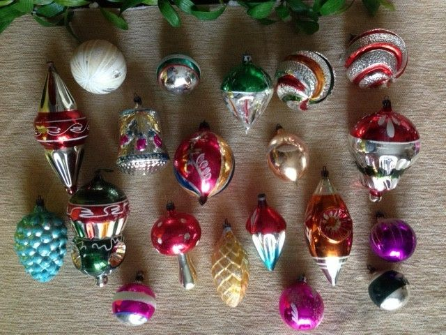 lot of 18 large mercury glass christmas decorations - Mercury Glass Christmas Decorations