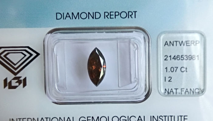1.07 ct Diamante natural fancy dark orangy brown taglio marquise