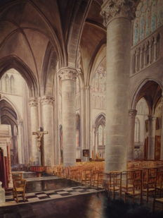 Beautiful large painting with church interior IEPER - Belgium Mid-20th century