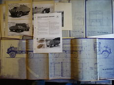 """1955 - 1958 - MERCEDES-BENZ Unimog S """"Type 404"""" - Original detailed factory file with numbers of plans & photos"""