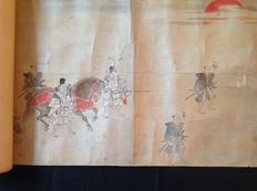 Long ( 18 m ) Antique Hand-painted Japanese Emaki Procession Scroll - Japan- 19th Century