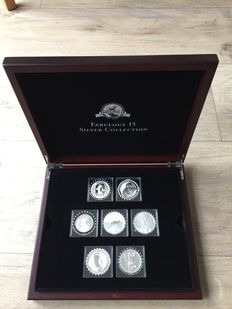 "World – Collection of various coins 2011/2014 ""Legendary silver world coins"" (15 different ones) in cassette"