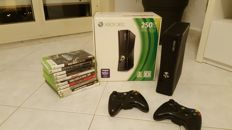 Microsoft XBOX 360, 250GB - in original box, with 2 wireless controllers and 10 games