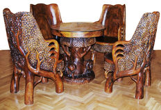 Set of table and four chairs in teak – Thailand – 80s